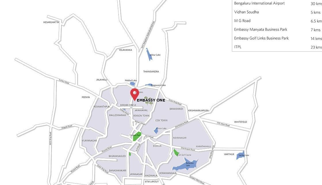 location map of Embassy ONE - Four Seasons Private Residences - Bangalore