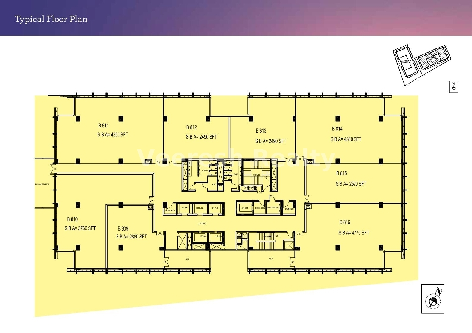 typical floor plan Brigade Signature Towers_ Commercial Office Space Bangalore